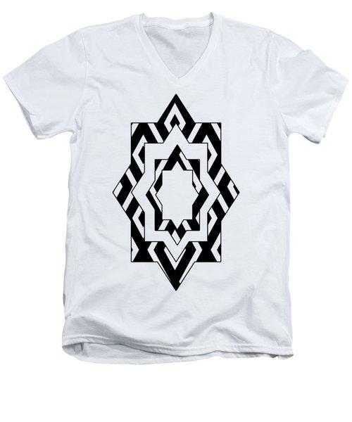 Black White Pattern Art Men's V-Neck T-Shirt