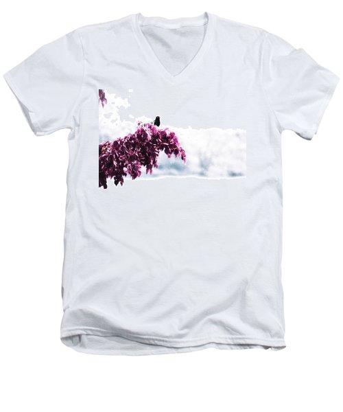 Blackbird In The Rain Men's V-Neck T-Shirt