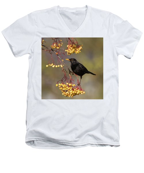 Blackbird Yellow Berries Men's V-Neck T-Shirt