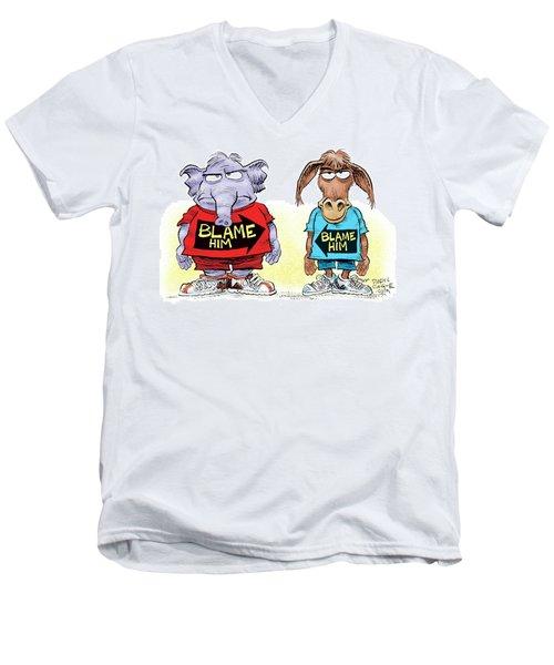 Blame Him Men's V-Neck T-Shirt