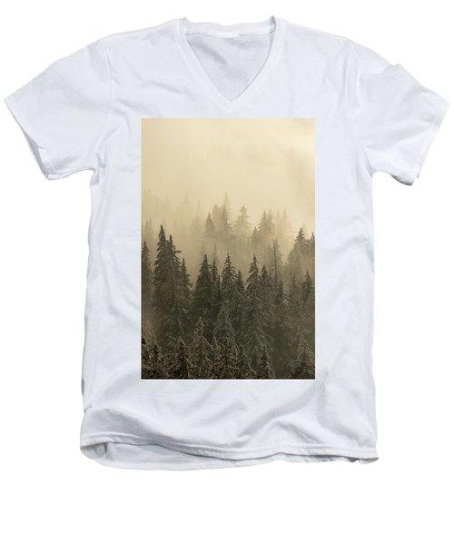 Blanket Of Back-lit Fog Men's V-Neck T-Shirt by Dustin LeFevre