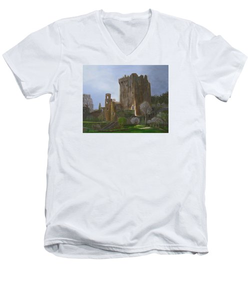 Blarney Castle Men's V-Neck T-Shirt by LaVonne Hand