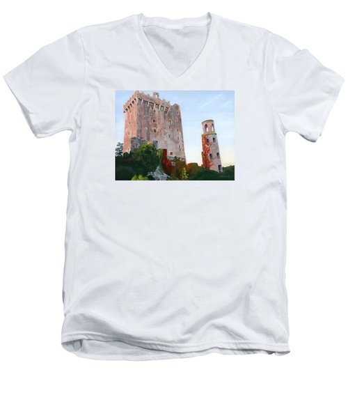 Men's V-Neck T-Shirt featuring the painting Blarney Castle by Lynne Reichhart