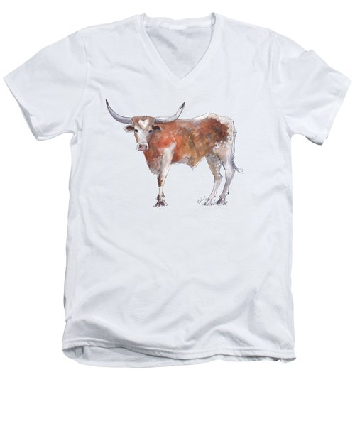 Bless Your Heart Of Texas Longhorn A Watercolor Longhorn Painting By Kathleen Mcelwaine Men's V-Neck T-Shirt