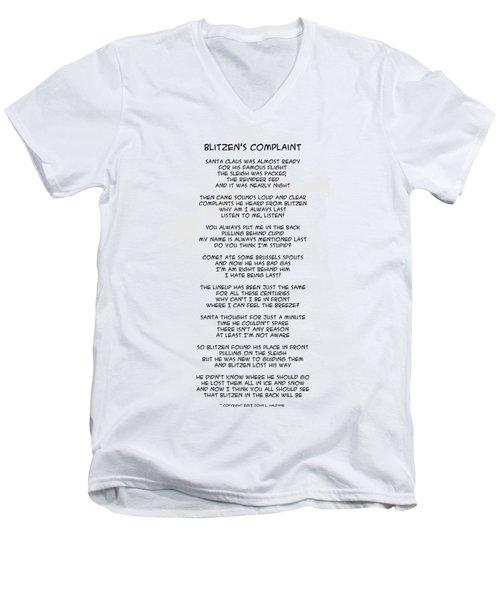 Men's V-Neck T-Shirt featuring the drawing Blitzens Complaint by John Haldane