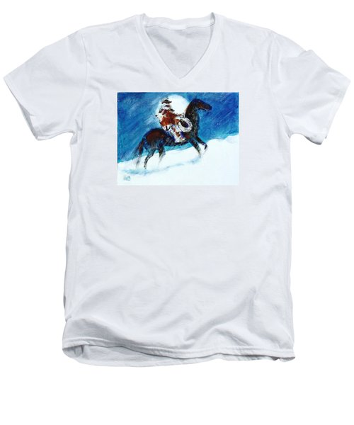 Men's V-Neck T-Shirt featuring the painting Blizzard Moon-the Last Stray by Seth Weaver