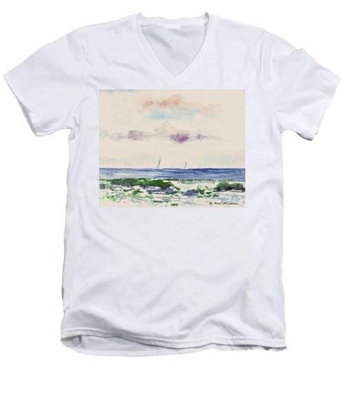 Block Island Sound Men's V-Neck T-Shirt by Joan Hartenstein