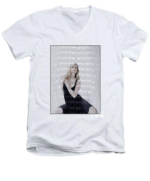 Blonde Girl Crouching Men's V-Neck T-Shirt