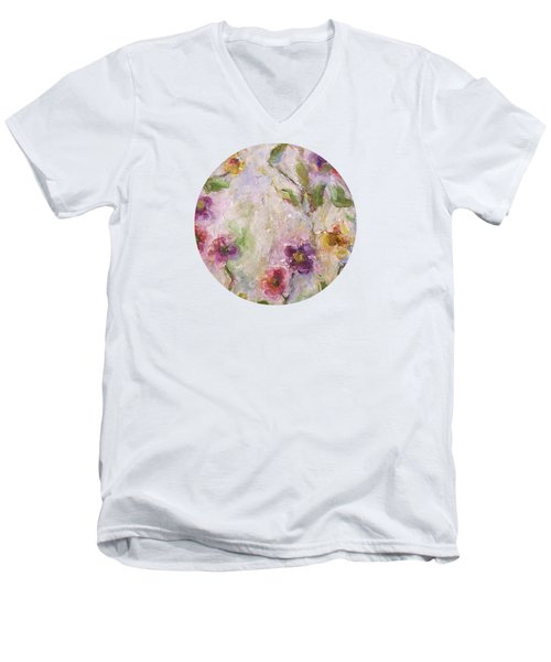 Men's V-Neck T-Shirt featuring the painting Bloom by Mary Wolf
