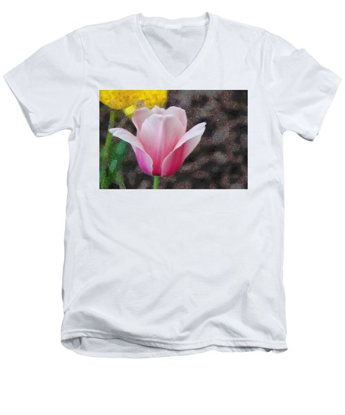 Men's V-Neck T-Shirt featuring the mixed media Bloomin' by Trish Tritz