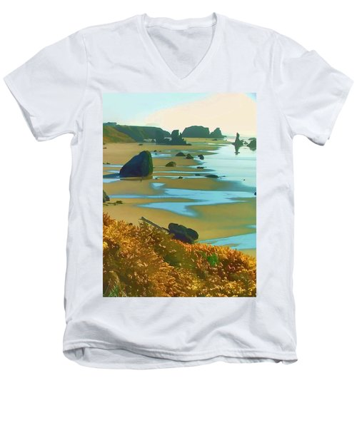 Blooming Bandon Watercolor Men's V-Neck T-Shirt by Wendy McKennon