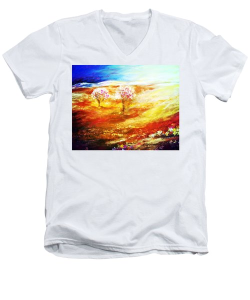 Men's V-Neck T-Shirt featuring the painting Blossom Dawn by Winsome Gunning