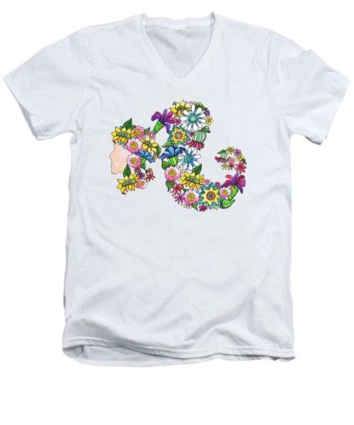 Blossoming Ponytail Men's V-Neck T-Shirt