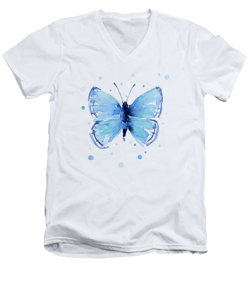 Blue Abstract Butterfly Men's V-Neck T-Shirt