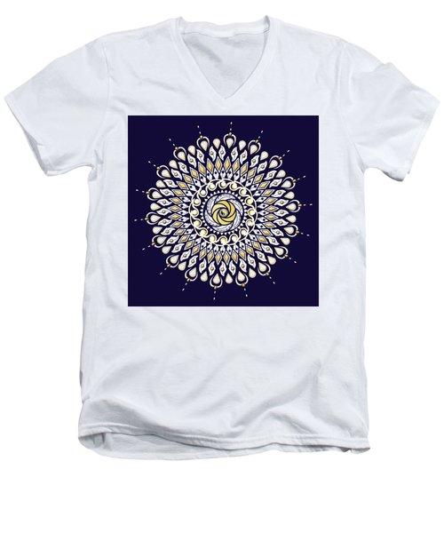Blue And Gold Lens Mandala Men's V-Neck T-Shirt by Deborah Smith