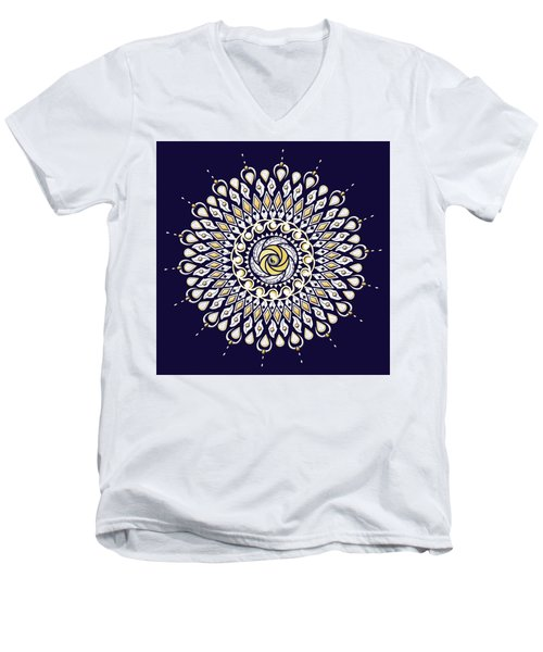 Blue And Gold Lens Mandala Men's V-Neck T-Shirt