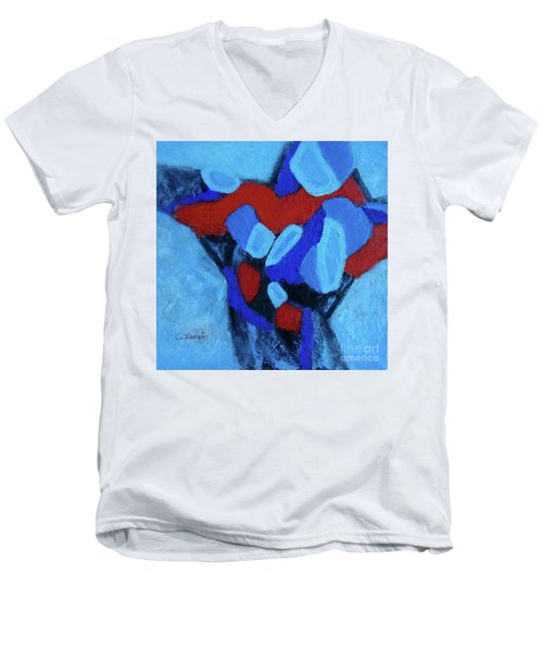 Blue And Red Men's V-Neck T-Shirt