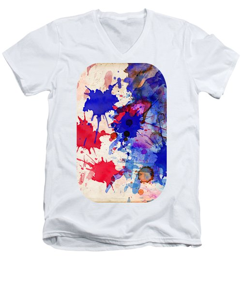 Blue And Red Color Splash Men's V-Neck T-Shirt