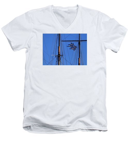 Blue Angels Pass Behind Masts Of The Balclutha At Hyde Street Pier Men's V-Neck T-Shirt