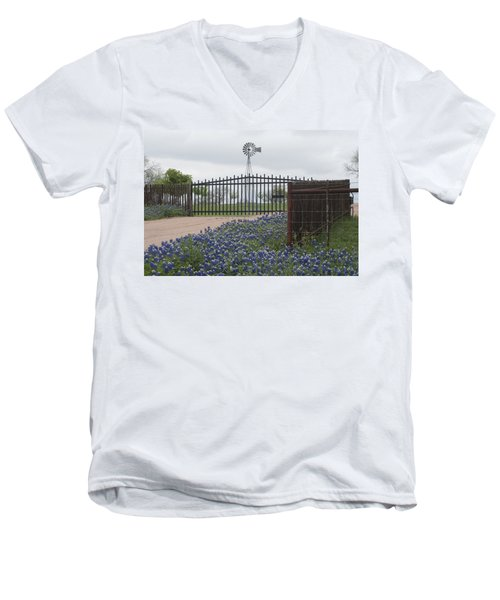 Blue Bonnets By Gate Men's V-Neck T-Shirt