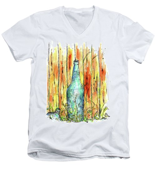 Men's V-Neck T-Shirt featuring the painting Blue Bottle by Cathie Richardson