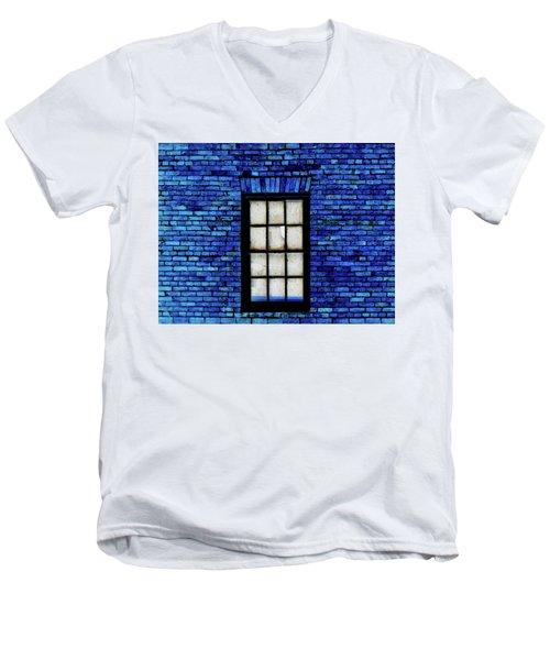 Men's V-Neck T-Shirt featuring the digital art Blue Brick by Robert Geary