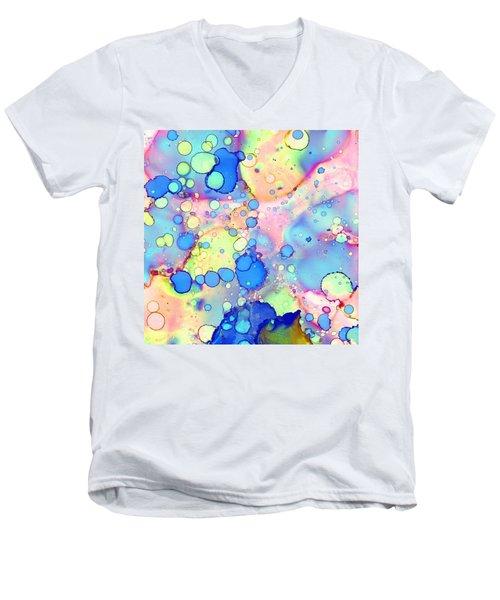 Blue Bubble Gum Pop Men's V-Neck T-Shirt by Patricia Lintner