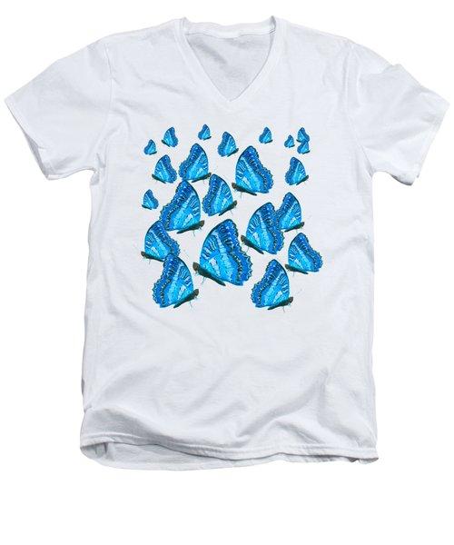 Blue Butterflies Men's V-Neck T-Shirt by Jan Matson