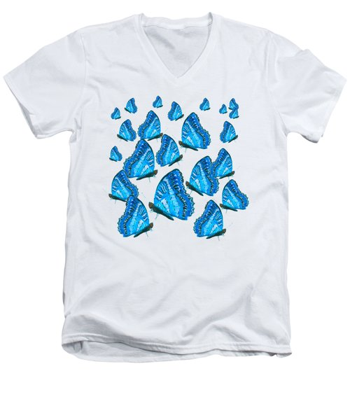 Blue Butterflies Men's V-Neck T-Shirt