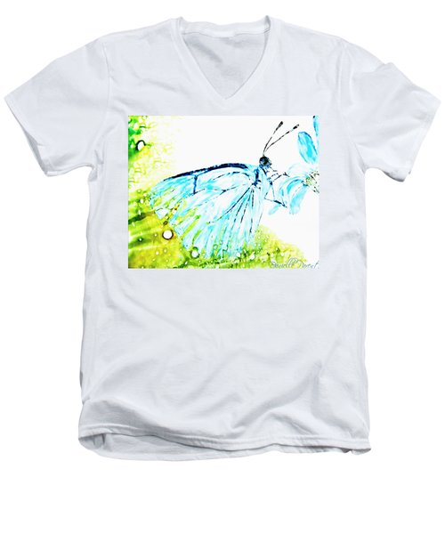 Blue Butterfly On Daisy Alcohol Inks Men's V-Neck T-Shirt