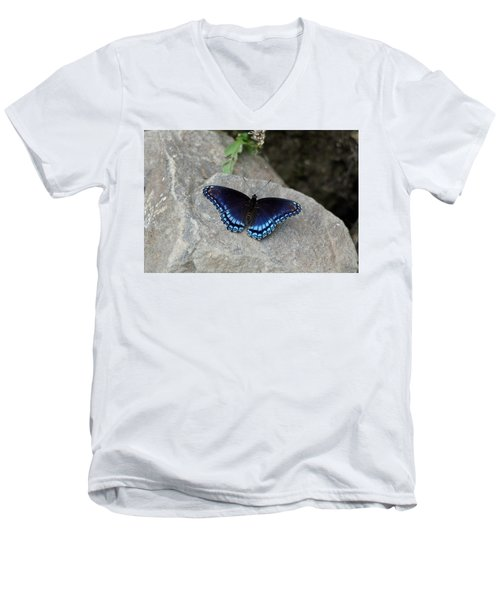 Blue Butterfly Men's V-Neck T-Shirt