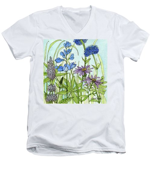 Men's V-Neck T-Shirt featuring the painting Blue Buttons by Laurie Rohner