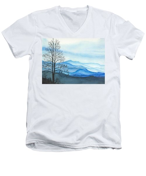 Men's V-Neck T-Shirt featuring the painting Blue Calm by Rachel Hames