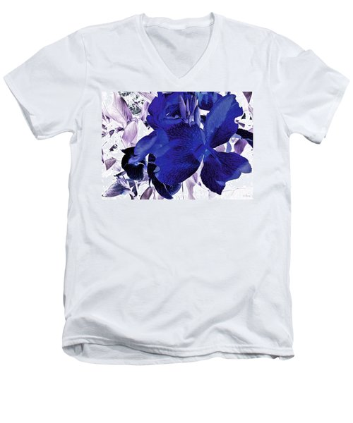 Men's V-Neck T-Shirt featuring the photograph Blue Canna Lily by Shawna Rowe