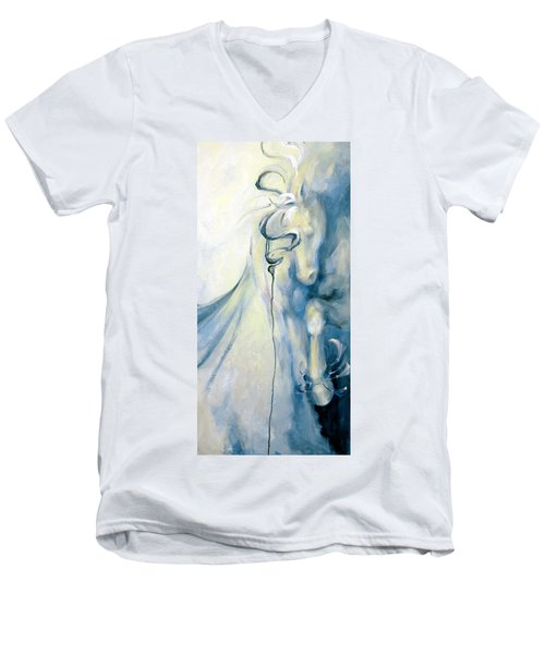Blue Circus Pony 2 Men's V-Neck T-Shirt by Dina Dargo
