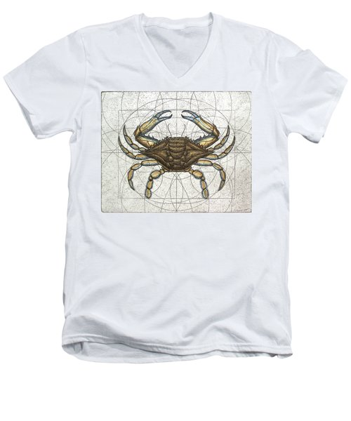 Blue Crab Men's V-Neck T-Shirt by Charles Harden