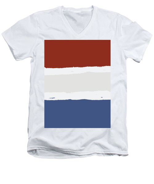 Blue Cream Red Stripes Men's V-Neck T-Shirt