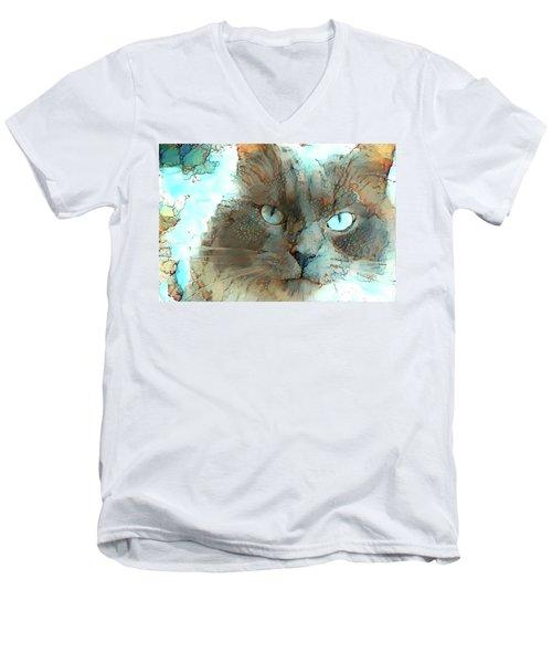 Blue Eyed Persian Cat Watercolor Men's V-Neck T-Shirt