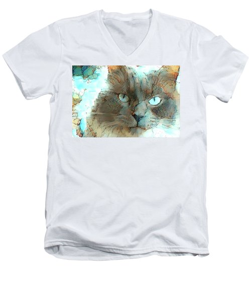 Blue Eyed Persian Cat Watercolor Men's V-Neck T-Shirt