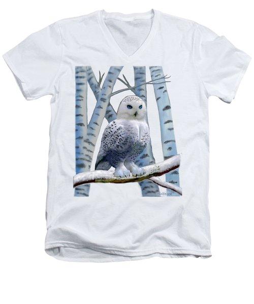 Blue-eyed Snow Owl Men's V-Neck T-Shirt by Glenn Holbrook