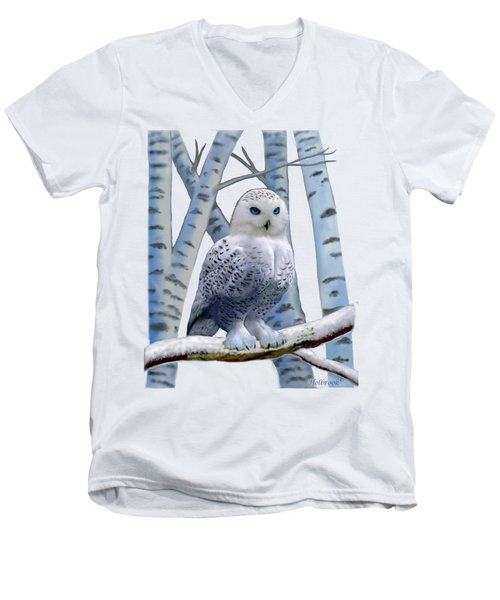 Blue-eyed Snow Owl Men's V-Neck T-Shirt