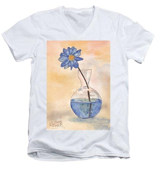 Blue Flower And Glass Vase Sketch Men's V-Neck T-Shirt