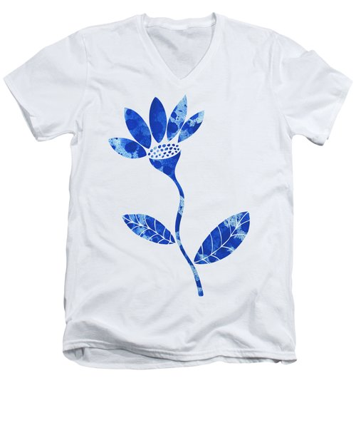 Blue Flower Men's V-Neck T-Shirt by Frank Tschakert
