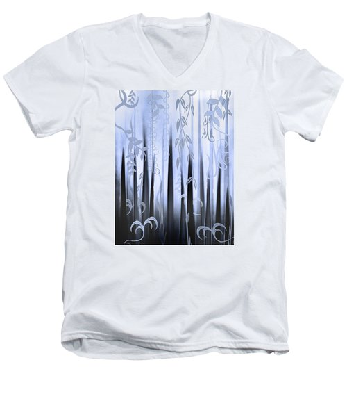 Men's V-Neck T-Shirt featuring the painting Blue Forest by Deborah Smith