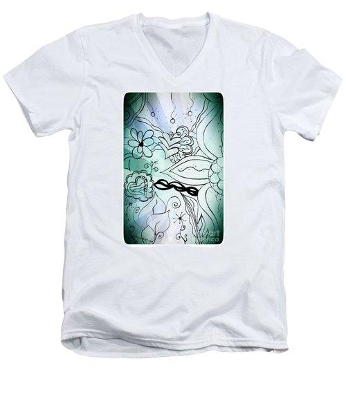 Blue Funky Flower Doodles Men's V-Neck T-Shirt