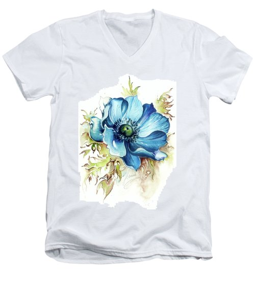 Blue Gem Men's V-Neck T-Shirt by Anna Ewa Miarczynska