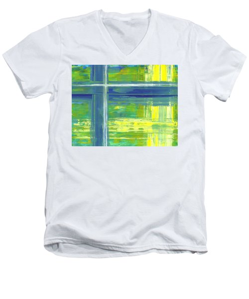 Blue Geometric Yellow Men's V-Neck T-Shirt