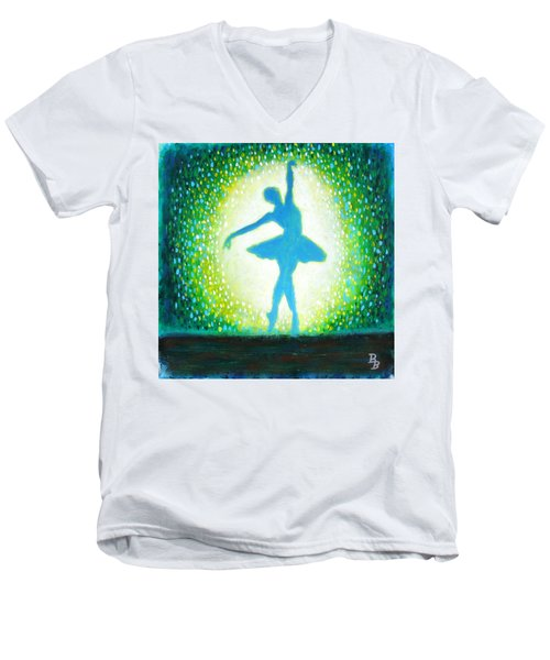 Blue-green Ballerina Men's V-Neck T-Shirt by Bob Baker
