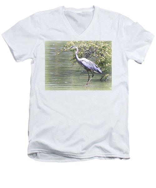 Blue Heron Men's V-Neck T-Shirt by Clarice  Lakota