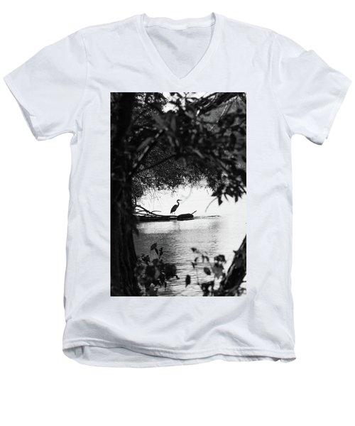 Blue Heron In Black And White. Men's V-Neck T-Shirt